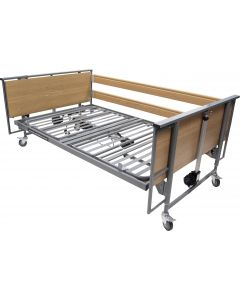 Bed Specifications Max. Patient Weight:185 kg / 29 Stone Safe Working Load:220 kg / 34 Stone Max. Mattress Thickness with Side Rails:205mm Overall Length:2120mm Overall Width:1320mm Adjustable Height:385 – 815mm Angle of Back Rest:70° Angle of Thig